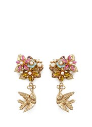 Miriam Haskell Bird Charm Floral Beaded Bouquet Earrings Multi Colour Metallic