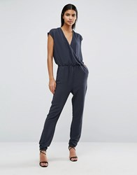 Vila V Neck Jumpsuit Dark Grey