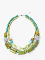 One Button Double Layer Ceramic Bead Necklace Green Multi