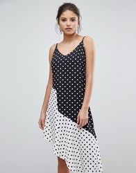 Missguided Asymmetric Polka Dot Dress Black