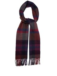 Paul Smith Checked Cashmere Scarf Purple
