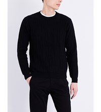 Paul Smith Cactus Cable Knit Cotton And Wool Blend Jumper Black