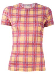 Romeo Gigli Vintage Plaid T Shirt Yellow And Orange