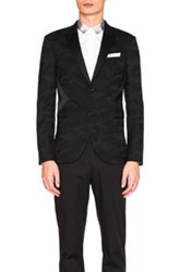 Neil Barrett Modernist Tuxedo Jacket In Black Abstract Black Abstract