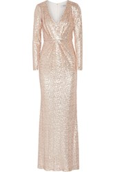 Badgley Mischka Sequin Embellished Tulle Gown Blush