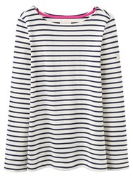 Joules Harbour Stripe Long Sleeve Jersey Top Cream Stripe