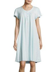 Miss Elaine Embroidered Ribbed Knit Nightgown Blue