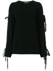 Dondup Lace Up Sleeve Jumper Black