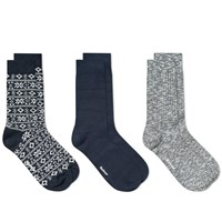 Barbour Chunky Sock Gift Set 3 Pack Blue