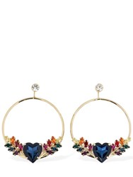 Anton Heunis Heart Crystal Hoop Earrings Multicolor