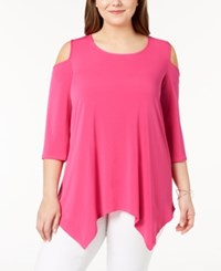 Ny Collection Plus Size Cold Shoulder Tunic Beetroot Purple