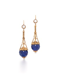 Fred Leighton Victorian Lapis And Pearl Dangle Earrings