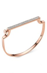 Monica Vinader Women's Signature Thin Petite Bangle Rose Gold Diamond
