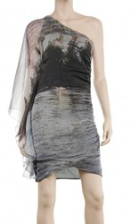 Leon Max Asymmetrical Silk Chiffon Water Print Dress