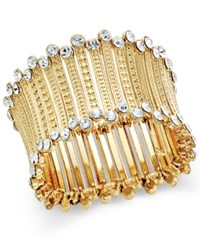 Inc International Concepts Gold Tone Crystal Trim Stretch Cuff Bracelet Only At Macy's