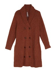 Melissa Mccarthy Seven7 Plus Marled Double Breasted Long Cardigan Brown