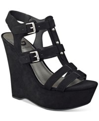 G By Guess Hippo Platform Wedge Sandals Women's Shoes Black