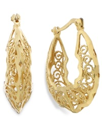 Giani Bernini 24K Gold Over Sterling Silver Filigree Hoop Earrings 23Mm