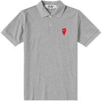 Comme Des Garcons Play Large Heart Polo Grey