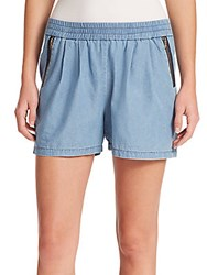Rebecca Taylor Silk Cotton Twill Shorts Chambray