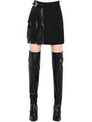 Fausto Puglisi Nappa Fringed Wool Crepe Mini Skirt