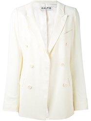 Aalto Double Breasted Blazer Women Spandex Elastane Viscose Virgin Wool 36 White