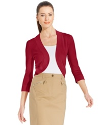 Jessica Howard Three Quarter Sleeve Petite Open Front Cardigan Red