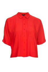 Topshop Red Short Sleeve Roll Up Shirt Red