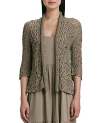 Joan Vass Tape Yarn Knit Cardigan Plus Size Taupe