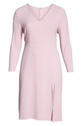 Leith Plus Size Long Sleeve High Slit Midi Dress Pink Nectar