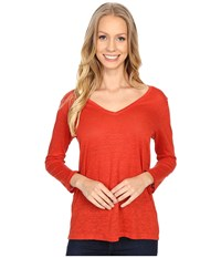 Pendleton 3 4 Sleeve V Neck Tee Cayenne Women's Long Sleeve Pullover Red