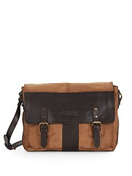 Frye Trevor Two Tone Leather Messenger Bag Taupe