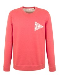 Racing Green Evans Washed Logo Sweatshirt Red