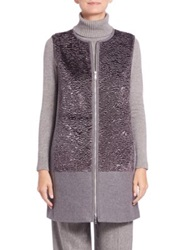 Lafayette 148 New York Tamar Faux Fur Trimmed Vest Grey