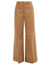 Brunello Cucinelli Tailored Wide Leg Cotton Blend Twill Trousers Mid Brown