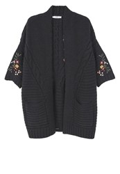 Mango Flowers Cardigan Black