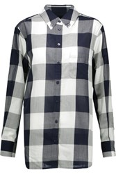 Equipment Margaux Checked Cotton Voile Shirt Navy