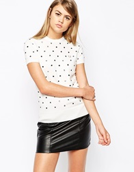 Fred Perry Embroidered Polka Dot Knitted T Shirt White