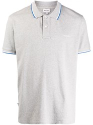 Woolrich Embroidered Logo Stripe Detail Polo Shirt Grey