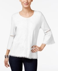 Styleandco. Style Co. Crochet Trim Bell Sleeve Top Only At Macy's Bright White