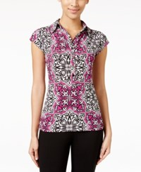 Alfani Printed Cap Sleeve Polo Shirt Only At Macy's Mosaic Orchid