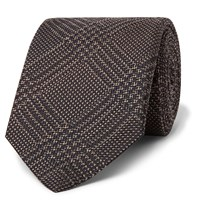 Brioni 8Cm Prince Of Wales Checked Silk And Virgin Wool Blend Tie Brown