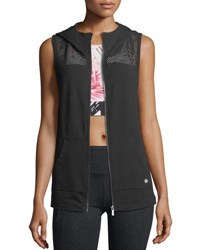 Nanette Lepore Play Mesh Inset Hooded Vest Black