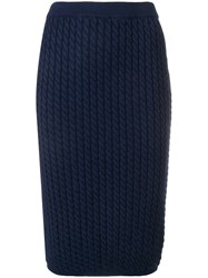 Alessandra Rich Cable Knit Skirt Blue