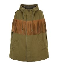 Saint Laurent Suede Fringed Hooded Garbadine Cape Female Green