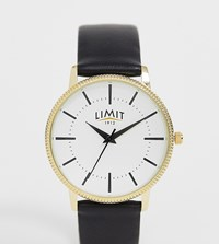Limit Faux Leather Watch In Black With Gold