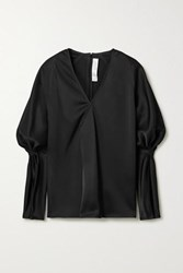 Victoria Beckham Wrap Effect Gathered Satin Blouse Black