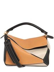 Loewe Medium Puzzle Color Block Leather Bag Amber Light Oat