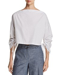 Kenneth Cole Cropped Boxy Drawstring Sleeve Top Top Stripe