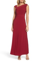 Ellen Tracy Women's Asymmetrical Neck Jersey Gown Garnet